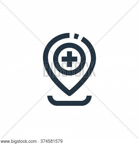 location pointer icon isolated on white background from medical kit collection. location pointer ico
