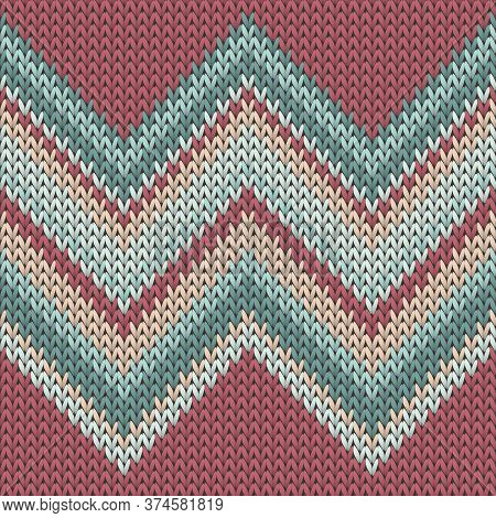 Cool Zig Zal Lines Knitted Texture Geometric Seamless Pattern. Ugly Sweater Knit Effect Ornament. No