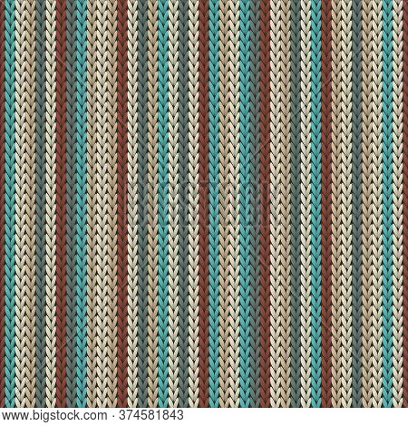 Macro Vertical Stripes Christmas Knit Geometric Vector Seamless. Plaid Knitting Pattern Imitation. W