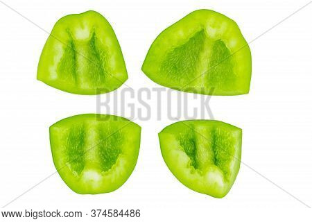Green Bell Peper Sliced Isolated On White Background.