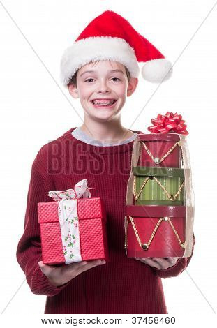 Teenager with Christmas gifts