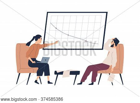 Stressed Businesswoman Pointing On Decline Profit Graph During Company Bankruptcy Vector Flat Illust