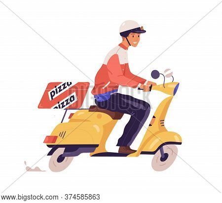 Pizza Deliveryman Ride On Scooter Vector Flat Illustration. Male Courier Express Delivering Pizzeria