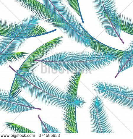 Exotic Feather Plumelet Vector Seamless Ornament. Modern Background. Ethnic Aztec Feather Plumelet F