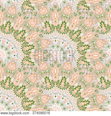 Medallion Flower Seamless Ornament. Islamic Ethnic Vector Graphic Design. Tangle Embroidery Chakra G