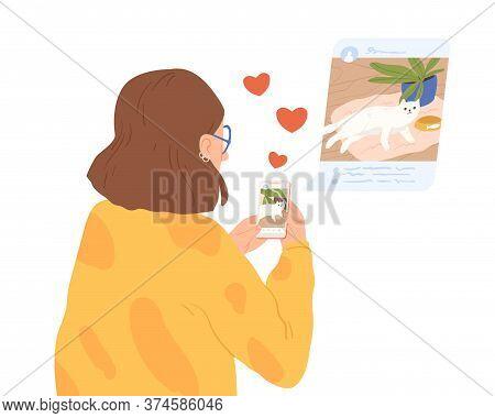 Female Animal Lover Sharing Photo Of Cat At Social Network Vector Flat Illustration. Woman Blogger M
