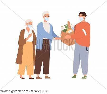 Guy In Medical Mask Giving Package With Food To Elderly Man And Woman Vector Flat Illustration. Male