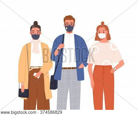 People Wearing Medical Mask On Face Vector Flat Illustration. Man And Woman In Protective Respirator