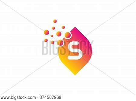 Letter S Bubbles Logo Template Vector Brand Name Design. Dots Letter S Logo With Leaf Concept. S Let
