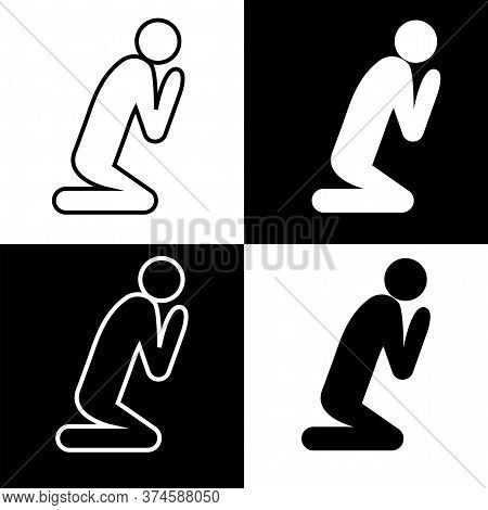 Icon Of A Praying Person. White And Black Silhouettes Of A Man Who Prays. Religion Worship Vector.