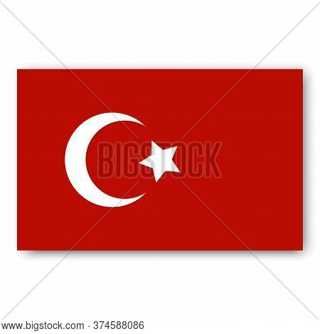 Turkey Flag Vector. Turkish Badge. The Symbol Of Istanbul. Star And Moon As Symbols Of The Muslim St