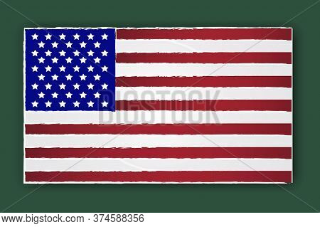 American Usa Flag In Grunge Style On A Green Background. Vector Grungy Template Of The Symbol Of Ame