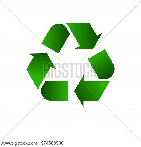 Reen Arrows Recycle Eco Symbol Vector Illustration Isolated On White Background, Icon Recycle Green