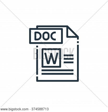doc file icon isolated on white background from file type collection. doc file icon trendy and moder