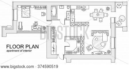 Planning Of The Apartment With Arrangement Furniture. Architectural Drawing Of The House (top View).