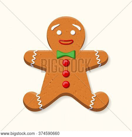 Cute Sweet Gingerbread Man With Green Bow Tie And Red Buttons Made Of Icing Isolated On White Backgr