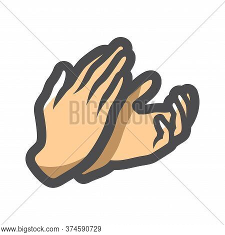 Applause Clapping Two Hands Vector Cartoon Illustration