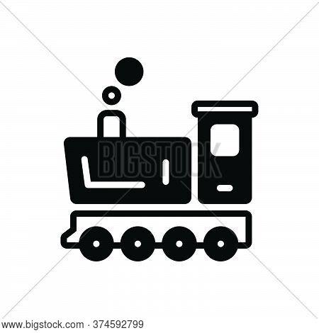 Black Solid Icon For Steam-engine Steam Engine Vintage Train Transportation