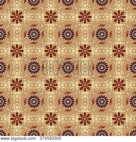 Beautiful Flower Motifs Design On Central Java Batik With Soft Mocca Color