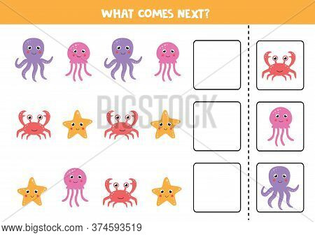 Logical Game With Sea Crab, Octopus, Jelly Fish And Starfish. Continue The Sequence.