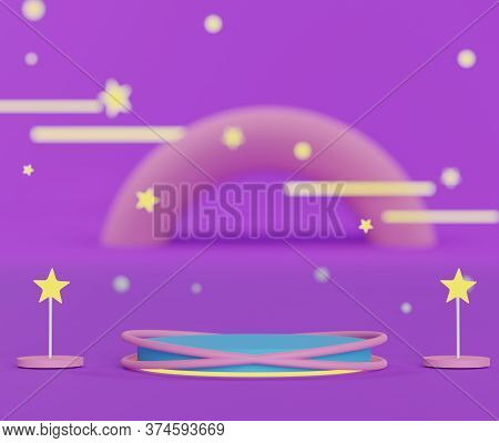 3d Abstract Geometric Forms. Colorful Of Luxury Podium With Bokeh Light Stars For Your Design. Fashi