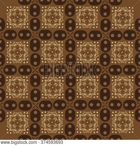 Elegant Motifs Design On Javanese Batik With Dark Brown Color