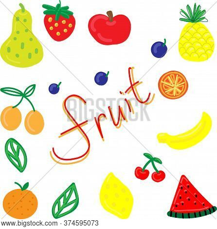 Vector Set, Funny Primitive Bright Fruits And Berries On A White Background