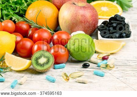 Vegetable And Supplement, Additive In Healthy Eating, Healthy Eating (diet) And Healthy Lifestyle Wi