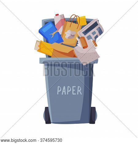 Waste Sorting, Gray Trash Can With Sorted Paper Garbage, Segregation And Separation Rubbish Disposal