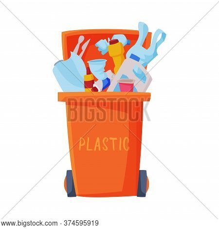 Waste Sorting, Orange Trash Can With Sorted Plastic Garbage, Segregation And Separation Rubbish Disp