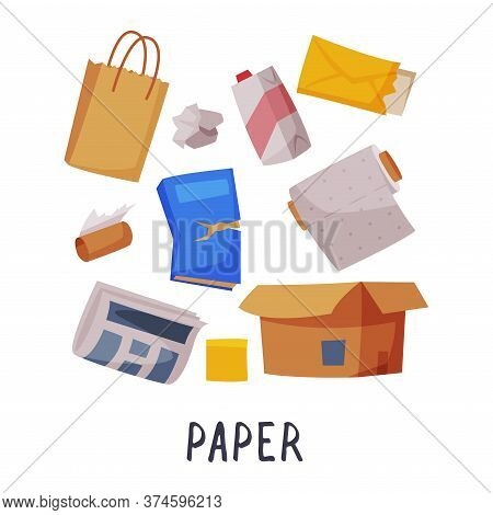 Paper Waste Sorting, Segregation And Separation Of Garbage Vector Illustration On White Background