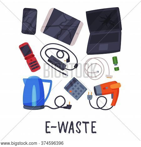 E-waste Sorting, Segregation And Separation Of Garbage Vector Illustration On White Background