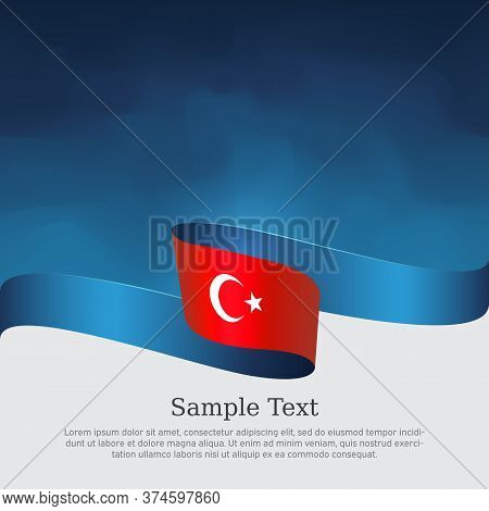 Turkey Flag With Wavy Ribbon On A Blue White Background. Background With Flag Of Turkey. Turkish Nat