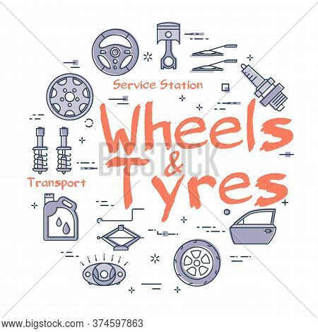 Vector Line Round Banner Of Wheels And Tyres