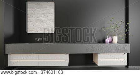 Empty Modern Interior Design For A Black Bathroom Concept, Mirror, Decoration, Mock Up, Black Wall A
