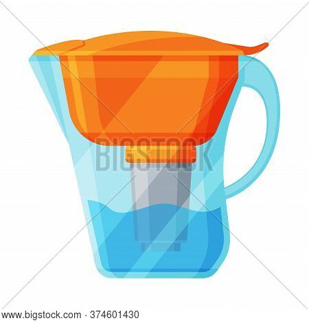 Jug Filter For Water Purification, Special Modern Technologies Vector Illustration On White Backgrou