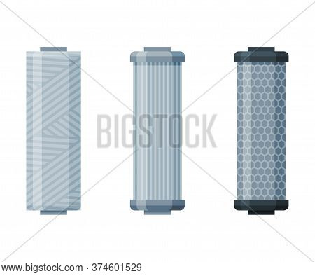 Water Filters Set, Special Modern Technologies For Liquid Purification Vector Illustration On White