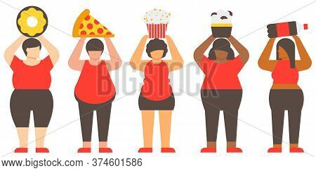 Diversity Fat Woman And Junk Food. Unhealthy Woman And Unhealthy Food. Flat Illustration Vector.