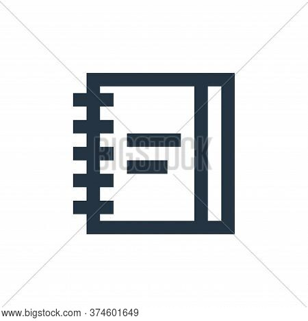 notebook icon isolated on white background from office stationery collection. notebook icon trendy a