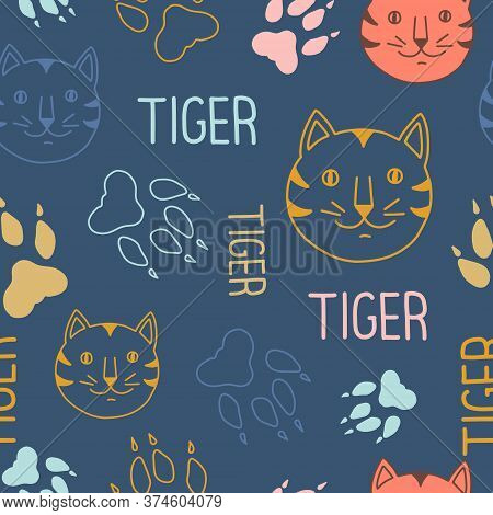 Tigers Seamless Pattern. Vector Illustration On The Theme Of International Tiger Day On July 29. Dec