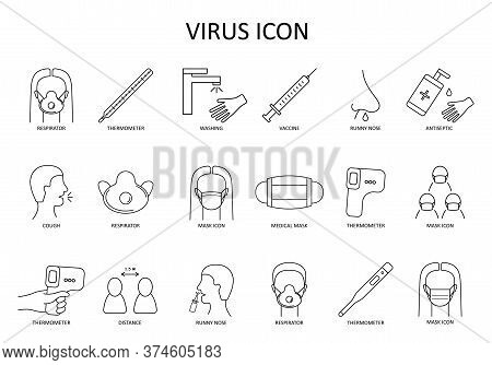 Linear Vector Icon: Medical Face Mask; Respirator; Cough; Thermometer; Distance; Washing Hands; Runn