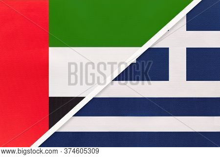 United Arab Emirates Or Uae And Greece Or Hellenic Republic, Symbol Of Two National Flags From Texti