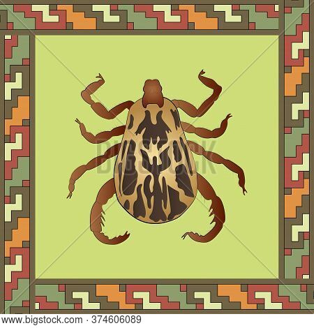 Mite Color Illustration In Mexican Ornament Frame. Vector.