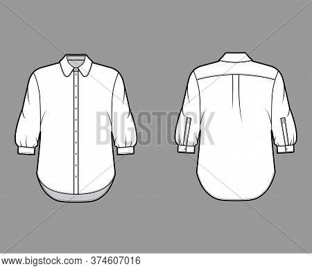 Classic Shirt Technical Fashion Illustration With Button Down Front Opening, Round Collar, Elbow Sle