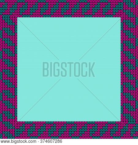Norwegian Traditional Ornament. Square Frame With Floral Ornament. Knitting Pattern. Vector.