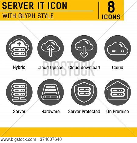 Server It And Technology Icon Set. Editable Color. With Solid Style On Isolated Soft Gray Background
