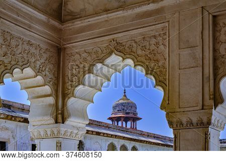 Agra, Uttar Pradesh / India - October 6, 2019: Diwan-i-khas (hall Of Private Audiences) Pavilion In