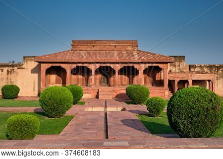 Agra, Uttar Pradesh / India - October 5, 2019: Old Red Sandstone Palace At The Mughal City Of Fatehp