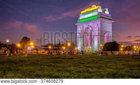 Delhi / India - September 26, 2019: Illuminated India Gate War Memorial In New Delhi, India, Dedicat