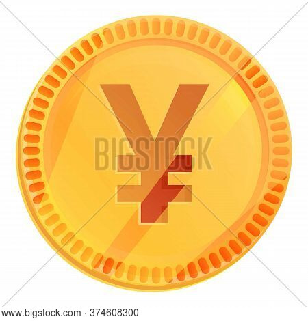 Japanese Yen Coin Icon. Cartoon Of Japanese Yen Coin Vector Icon For Web Design Isolated On White Ba